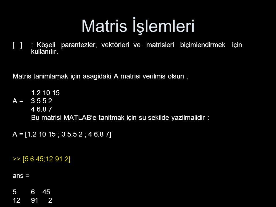 Matris İşlemleri [ ] : Köşeli parantezler, vektörleri ve matrisleri biçimlendirmek için kullanılır.